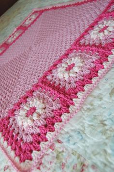Custom Order - Bright Pink and Light Pink Flower Patchwork Granny Square Afghan Blanket Baby Shower Gift