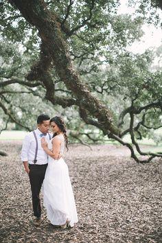 Brandon Scott Photography #oakalley #wedding #weddingphotography #louisiana #weddinginspiration #neworleans #oaktrees #bride #groom #portrait #weddingdress #bowtie