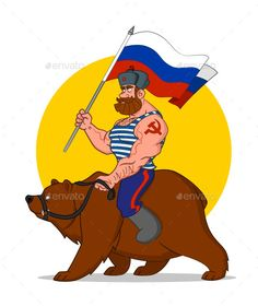 Russian riding a bear. Independence Day of Russia. Vector illustration. Formats: eps 10, jpg, png, gif.