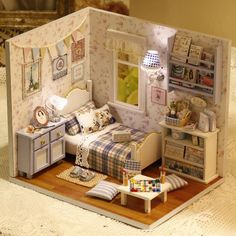 MINIATURE: Diy Wooden Miniature Doll House Furniture Miniature Puzzle Toy Model Handmade Dollhouse Creative Birthday Gift-Sunshine full: