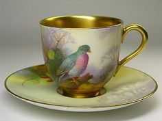 Royal Worcester Pigeon Cup & Saucer by A. Shuck
