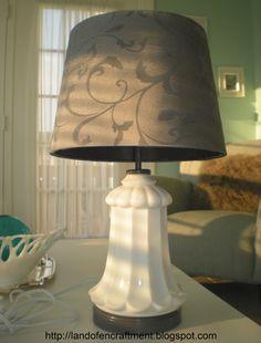 repurposed milk glass lamp