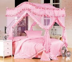 Bed Canopy Mosquito Net with Steel Canopy Frame Set for Twin Bed in Pink : twin bed canopy - memphite.com