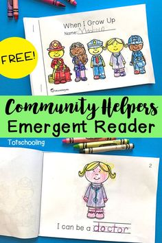 Helpers Emergent Reader FREE emergent reader book all about community helpers! A great addition to any community helper unit!FREE emergent reader book all about community helpers! A great addition to any community helper unit! Community Helpers Activities, Community Helpers Kindergarten, Kindergarten Social Studies, School Community, Kindergarten Activities, Kindergarten Reading, Community Jobs, Preschool Books, Community Helpers For Kids