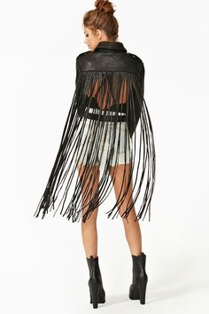 ASCII Leather Moto Jacket with Fringe