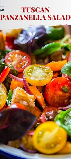 This Panzanella Salad made with ripe and juicy tomatoes, crusty ciabatta and fragrant basil is the best of the summer offerings! Whole Food Recipes, Cooking Recipes, Best Italian Recipes, Party Food And Drinks, Delicious Recipes, Healthy Recipes, Middle Eastern Recipes, Side Salad, How To Make Salad