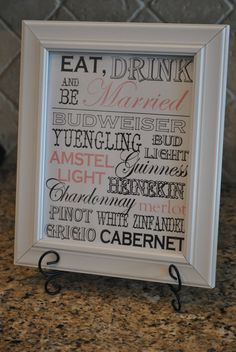 Wedding Sign  Drink/Bar Menu  Customized by cupcakesnjellybeans, $25.00