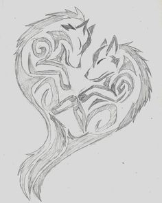 Wolf Tribal Heart by wolfhappy on DeviantArt Tribal Drawings, Cool Drawings, Drawing Sketches, Heart Drawings, Wolf Tattoos, Body Art Tattoos, Wolf Tattoo Tribal, Tribal Tattoos, Celtic Tattoos