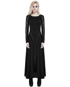 Punk Rave Maxi Dress Long Sleeve Black Gothic Dieselpunk Witch Faux Leather