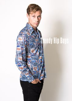 Men's Vintage shirt Men's 70s shirt Men's shirt Men's blue shirt Men's top - M
