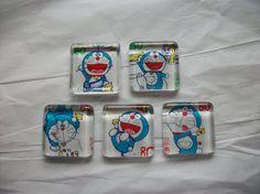 5 Doraemon Postage Stamp Nippon Japanese Glass by BadCatCraft