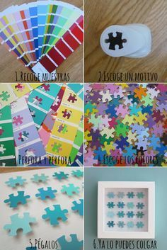 Id use a different shape . Puzzle art, puzzle crafts, puzzle activities for kids with paint chips and a puzzle piece shaped hole punch! Puzzle Piece Crafts, Puzzle Art, Puzzle Pieces, Autism Awareness Crafts, Autism Crafts, Fun Crafts, Diy And Crafts, Crafts For Kids, Arts And Crafts