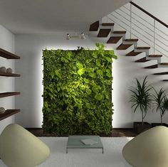 Vertical Gardens This pin inspired us to create a lush living wall as the focal point of the evrgrn loft— the perfect backdrop for the living room campsite via Bob Vila. Green Living, Indoor Gardens, Decor, Indoor Plants, House Interior, Vertical Garden Indoor, Interior, Wall, Home And Garden