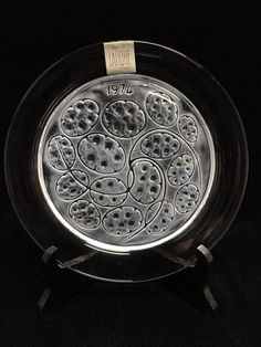 Lalique France Crystal Plate Silver Pennies 1974 Mint w/ Box