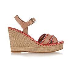 Valentino Embroidered leather espadrille wedge sandals ($795) ❤ liked on Polyvore featuring women's fashion, shoes, sandals, nude multi, crochet sandals, chunky sandals, leather sandals, nude wedge shoes and nude wedge sandal