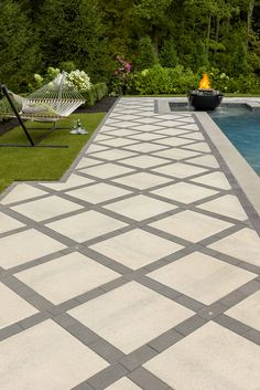 Patio Ideas This patio design is inspired by our Industria Smooth slab. Industria's square shape and Patio Privacy, Deck Patio, Patio Table, Paver Designs, Patio Stone, Flagstone Patio, Patio With Pavers, Driveway Pavers, Backyard Pavers