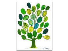 Illustrationen - Baum grün-gelb, Original Illustration - ein Designerstück von Angelika-Rump bei DaWanda