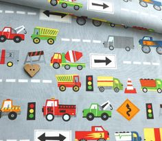 Ten Little Thinks - Cars and Trucks - Grey Print Patterns, Sewing Patterns, Contemporary Fabric, Zoom Zoom, Kids Prints, Car Car, Boy Room, Big Boys, Room Ideas