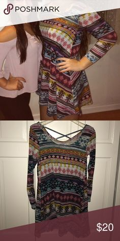 💕aztec dress💕 Comfy & cute aztec dress perfect to dress up or dress down! (lightly worn) 🔥 Dresses