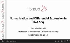 Normalization and Differential Expression in RNA-Seq - Sandrine Dudoit, talks to the Toronto Bioinformatics User Group about Normalization and Differential Expression in RNA-Seq. Find out more about TorBUG at http://www.torbug.org.