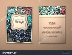 Vintage Cards With Floral Mandala Pattern And Ornaments. Vector Flyer Oriental Design Layout Template, Size A5. Islam, Arabic, Indian, Ottoman Motifs. Front Page And Back Page. Easy To Use And Edit. - 370787807 : Shutterstock