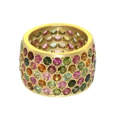 Tourmaline Cigar Band   From a unique collection of vintage band rings at http://www.1stdibs.com/jewelry/rings/band-rings/