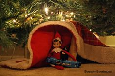 Elf on the Shelf - Hiding Under the Tree Skirt - our elf can't do this yet because the little guy will touch him, but someday... ;)