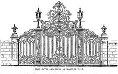 Worsley New Hall, Salford, Greater Manchester, by Edward Blore Metal Driveway Gates, Wrought Iron Garden Gates, Home Fencing, Fences, Royal Doors, Door Gate Design, Electric Gates, Iron Work, Iron Decor
