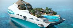 Youve probably seen various design of luxury yachts but for sure you havent seen such creative one. UK based company Yacht Island Design Ltd. moved up to a new level and has combined giant-sized personal luxury yacht and tropical island. Paradise Island, Paradise Falls, Dream Vacations, Vacation Spots, Vacation Ideas, The Places Youll Go, Places To Go, Tropical Island, Floating House