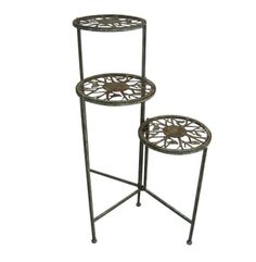 """31"""" TALL SONGBIRD METAL 3 TIER PLANT STAND. The graceful 3-Tier Plant Stand dazzles with its elegant, flowing designs and deep bronze coloring."""
