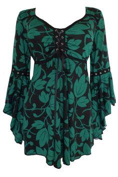 Dare To Wear Victorian Gothic Women's Plus Size Ophelia Corset Top Ivy Dare… Gothic Fashion, Look Fashion, Womens Fashion, Vintage Mode, Retro Vintage, Lace Corset, Peasant Blouse, Plus Size Outfits, Plus Size Fashion