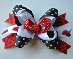 Ladybug Bow Hair Bow Toddler Hair Bow Girls by HappyHolmzCreations, $6.50