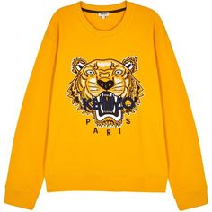 cab466249 KENZO Yellow Tiger-embroidered Cotton Sweatshirt - Size L ($230) ❤ liked on  Polyvore featuring men's fashion, men's clothing, men's hoodies, ...