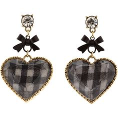 Betsey Johnson - Betsey Vintage Gingham Heart Drop Earrings... ($35) ❤ liked on Polyvore featuring jewelry, earrings, accessories, orecchini, women's jewelry, vintage drop earrings, vintage heart jewelry, black and white jewelry, nickel free earrings and black white earrings