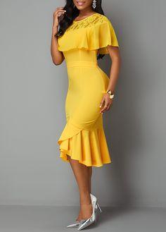 Lace Patchwork Back Zipper Ruffle Trim Dress Plus Size Fashion Dresses, Lace Dress Styles, Short Gowns, Spandex Dress, Purple Dress, Special Occasion Dresses, Glamour, Designer Dresses, Girls Dresses