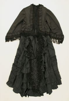 1870s Black silk dress