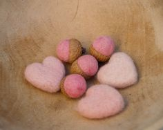 Tiny wool pink hearts and acorns made with LOVE*  Counting Stone Sheep