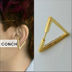 Gauge Conch Piercing Mens Earring Triangle – Gold Plated over 925 Silver hoop – Etsy Conch Helix Cartilage boucle d'oreille Helix Cartilage Earrings, Conch Earring, Tragus Earrings, Gold Earrings, Helix Jewelry, Body Jewelry, Jewellery, Piercings For Girls, Ear Piercings