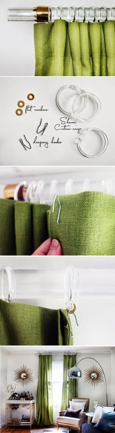 Lucite Drapery Rods & Brass Standoffs Lucite Drapery Rods Tutorial with where to get the Rods, Rings & Gorgeous Brass Standoffs for LESS! Curtains With Blinds, Drapes Curtains, Closet Curtains, Burlap Curtains, Green Curtains, Drapery Rods, Curtain Rods, By Any Means Necessary, Ideias Diy