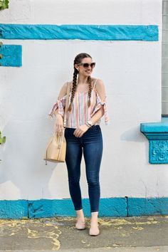 Summer Outfit, ASOS Cold Shoulder Top Seersucker Multi Gingham, Dutch Braids