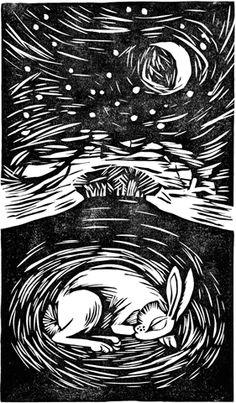 Linocut illustration by Celia Hart - Sleeping Hare Linocut Prints, Art Prints, Block Prints, Rabbit Art, Bunny Rabbit, Linoprint, Wood Engraving, Engraving Printing, Monochrom