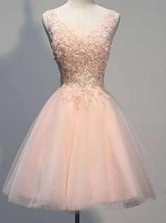 Vintage V-neck Sleeveless Short Open Back Pearl Pink Homecoming Dress with Appliques