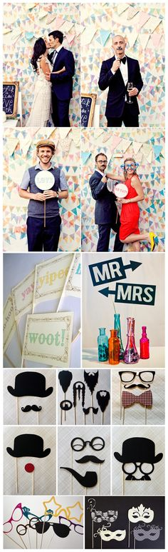 I heart homeade photobooths – I like how this one has the signs with expressions | We Know How To Do It