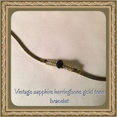 Vintage Sapphire herringbone gold tone bracelet Vintage sapphire herringbone gold tone bracelet, hallmark Korea & in great condition! Has such a beautiful shine Vintage Jewelry Bracelets