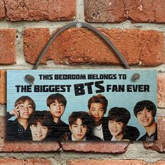 #820 BTS Band BIGGEST FAN Oak Veneer Quality Wooden Plaque Door Hanger Sign