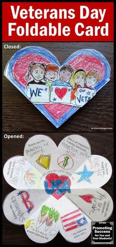 Veterans Day Card: Your students will enjoy creating this foldable card to show . - Veterans Day Card: Your students will enjoy creating this foldable card to show their appreciation - Veterans Day Thank You, Veterans Day Gifts, Veterans Day Activities, Craft Activities, Daisy, Printable Thank You Cards, Bulletins, Remembrance Day, Thanksgiving Gifts