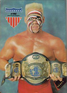 WCW World Heavyweight Champion Sting, good shot of the blonde flattop sting