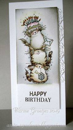 Anita 's Warme Groetjes: Happy Critters by Penny Black Birthday Thank You Cards, Happy Birthday, Art Birthday, Handmade Birthday Cards, Handmade Cards, Kids Cards, Baby Cards, Penny Black Cards, Watercolor Cards