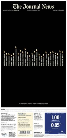 Beautiful memorial with names as candles.  Use of negative white space creates somber feeling.