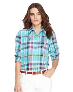 Plaid Cotton Shirt - Lauren Long-Sleeve - RalphLauren.com